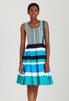 Thula Sindi - Sleeveless Striped Full Skirted Dress Multi-colour