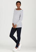 Cherry Melon - Boat-Neck top with Long Sleeves Black and White