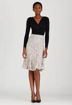 edit - Lined Lace Fit and Flare Skirt Stone
