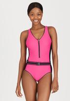 Winmax - Zip Front One-Piece Swimsuit Mid Pink
