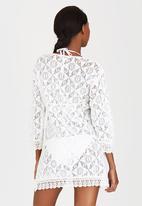 London Hub - Drawstring Crochet Kaftan White