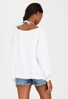 London Hub - Peasant Blouse with Keyhole Detail Blue and White