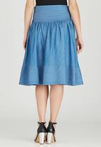 STYLE REPUBLIC - Fit and Flare Midi Skirt Pale Blue