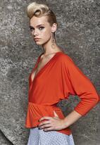Gert-Johan Coetzee - Cowl-sleeve Wrap Top Orange