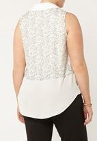 EVANS - Lace Overlay Shirt White