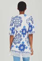 Revenge - Patterned Tunic Top Blue and White
