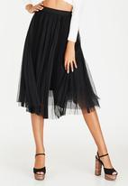 STYLE REPUBLIC - Pleated Mesh Midi Skirt Black