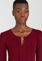 Kate Jordan - Smart Pleated Top Dark Red