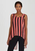 edit - High-low Sleeveless Blouse Red