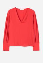MANGO - Puffed Sleeves Blouse Red