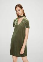 MANGO - Choker Neck Velvet Dress Khaki Green