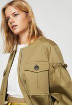 MANGO - Ruched Sleeve Pocket Jacket Khaki Green