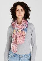 Joy Collectables - Feather and Animal Print Scarf Mid Pink