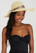 Joy Collectables - Sun Hat with Animal Print Bow Beige