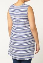 EVANS - Sleeveless Stripe Top Mid Blue