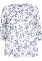 EVANS - Floral Shirt Blue and White