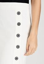 edit - Semi-fitted Skirt with Button Detail Milk