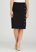 edit - Semi-fitted Skirt with Button Detail Black