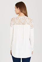 edit - Front Wrap-over Top with Lace Insets Milk