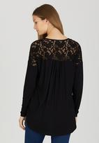 edit - Front Wrap-over Top with Lace Insets Black
