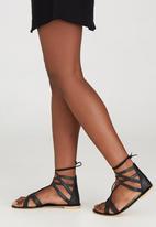 edit - Leather Lace-up Sandals Black