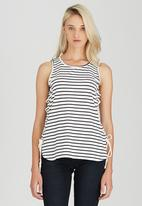 Brave Soul - Striped Tee with Tie Side Detail Black and White