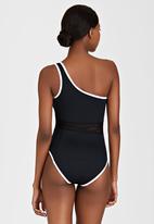 PIHA - Mesh One-Shoulder Swimsuit Black