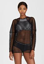 PIHA - High-Neck Mesh One-Piece Black