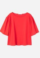 MANGO - Flared Sleeve T-shirt Red