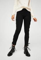 MANGO - Lace-up Skinny Jeans Black