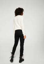 MANGO - Lace-up Skinny Jeans Black