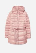 MANGO - Hood Quilted Puffer Coat Pale Pink