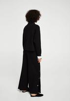 MANGO - Side Snaps Detailed Trousers Black