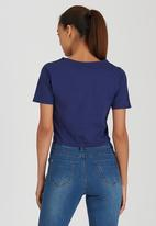 Brave Soul - Crop Tee with Tie Front Detail Navy