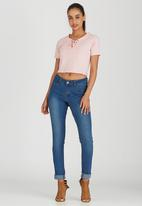 Brave Soul - Crop Tee with Tie Front Detail Pale Pink