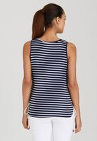 Brave Soul - Striped Tee with Tie Side Detail Blue and White