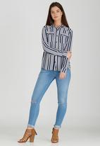 Brave Soul - Vertical Stripe Shirt Navy