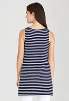 Brave Soul - Longline Striped Tank Blue and White