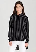 Brave Soul - Pinstripe Shirt Black and White
