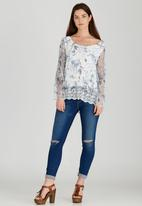 Revenge - Lace Trim Floral Top Blue and White