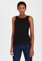 edit - Cami with Crochet Border Lace Black