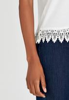 edit - Cami with Crochet Border Lace White