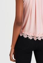 edit - Cami with Back Pleat and Border Lace Pale Pink
