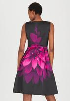 G Couture - Overblown Floral Print Fit & Flare Dress Cerise Pink