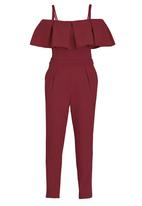 STYLE REPUBLIC - Cold Shoulder Jumpsuit Red