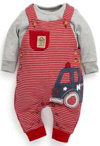 Next - Fire engine jersey dungarees 2-piece set Red