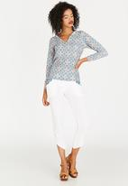 African Style Story - Printed Top with Shoulder Detail Mid Blue