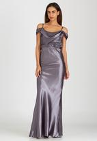ELIGERE - Elegant Cold Shoulder Dress Silver