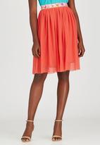 Sober - Mesh Popskirt with Printed Band Orange