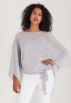 edit - Slit Sleeve Blouse with Front Ties Grey